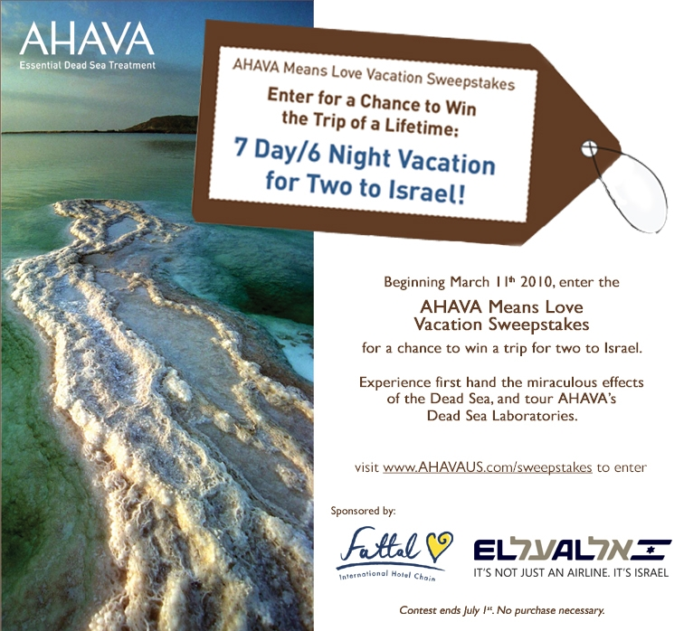 AHAVA Means Love Vacation Sweepstakes