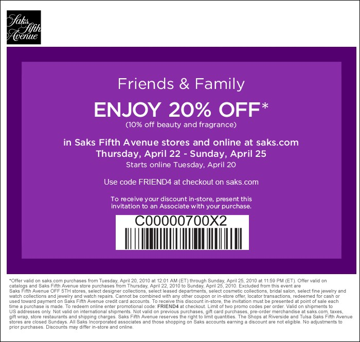 Saks Fifth Avenue Friends and Family – Save 20%