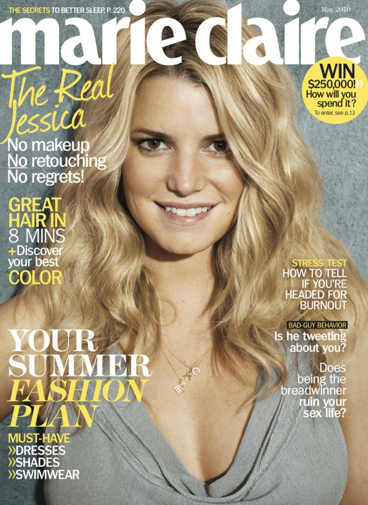 Jessica Simpson on May cover of marie claire – No makeup and no retouching?
