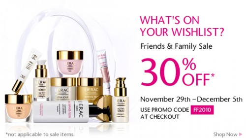Lierac Paris Friends & Family – 30% off ALL products